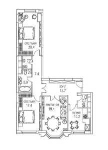 Планировка 3-комнатной квартиры в Алые паруса